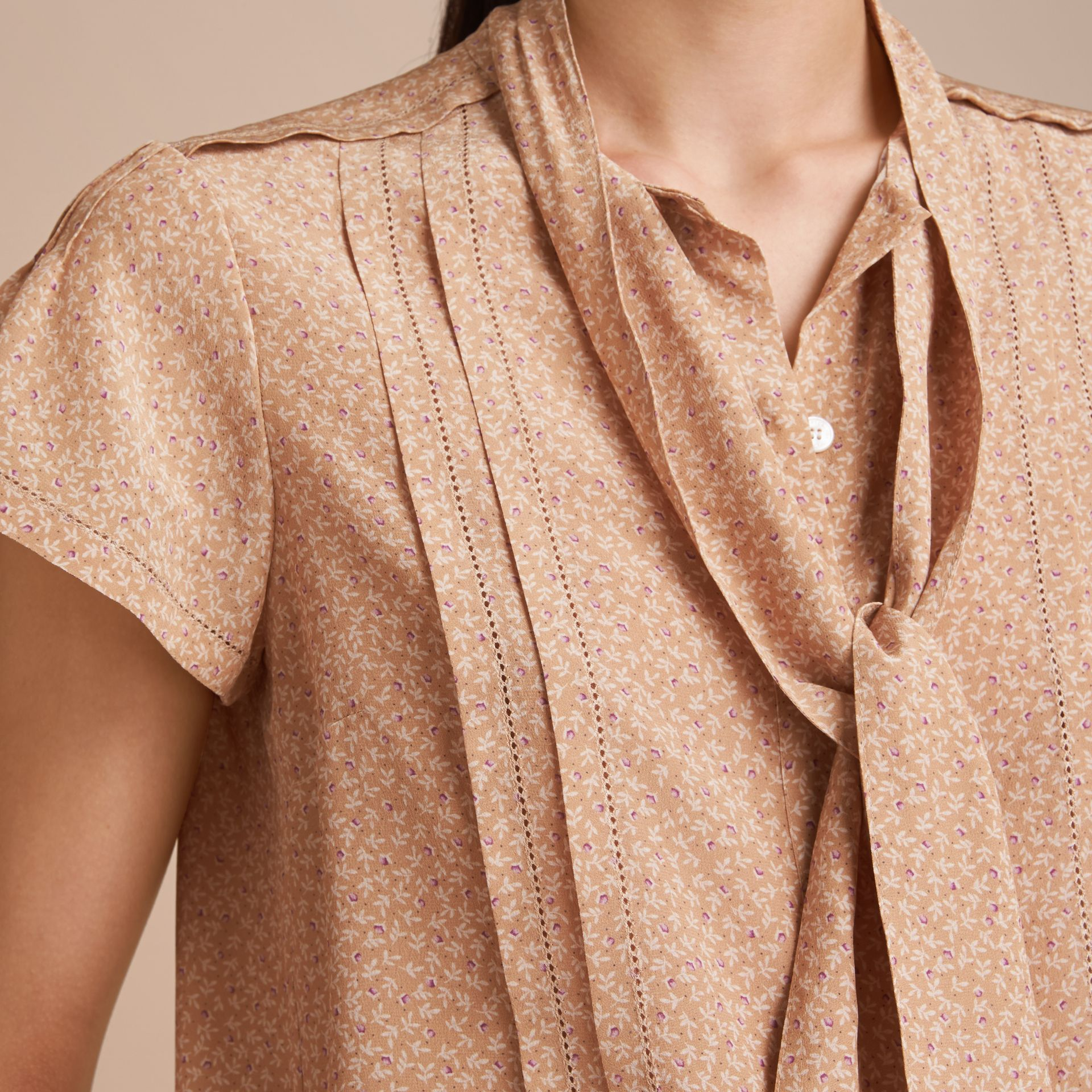 Tie Neck Floral Print Silk Shirt - Women | Burberry Hong Kong - gallery image 5
