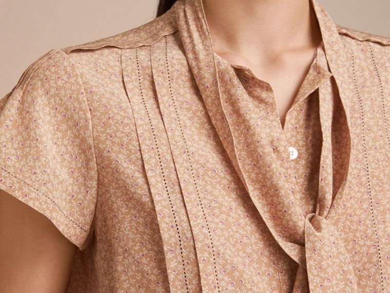 Tie Neck Floral Print Silk Shirt - Women | Burberry - cell image 4