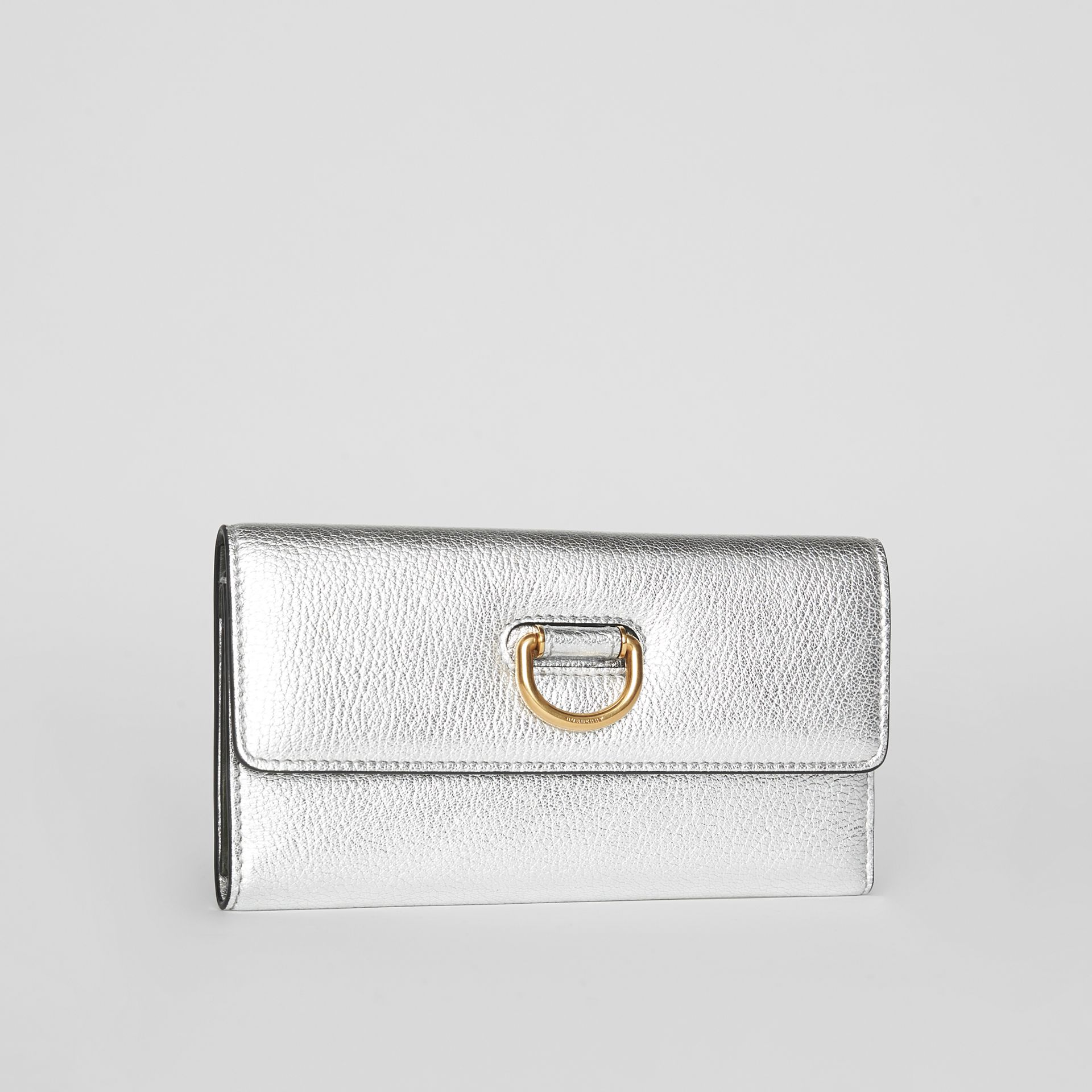 D-ring Metallic Leather Continental Wallet in Silver - Women | Burberry - gallery image 4