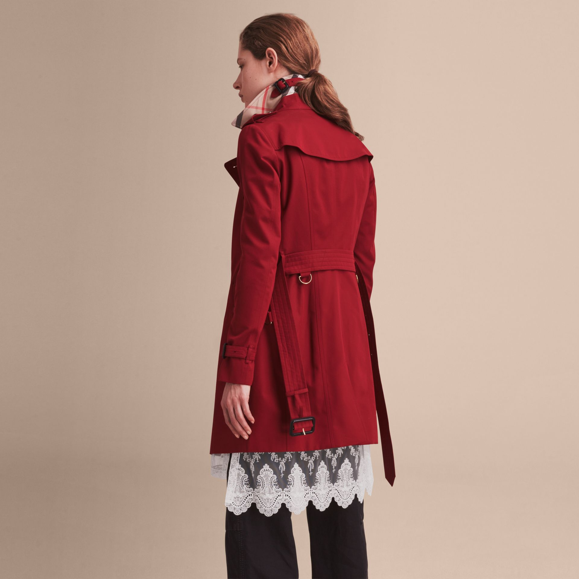 The Sandringham – Mid-length Heritage Trench Coat in Parade Red - Women | Burberry - gallery image 3