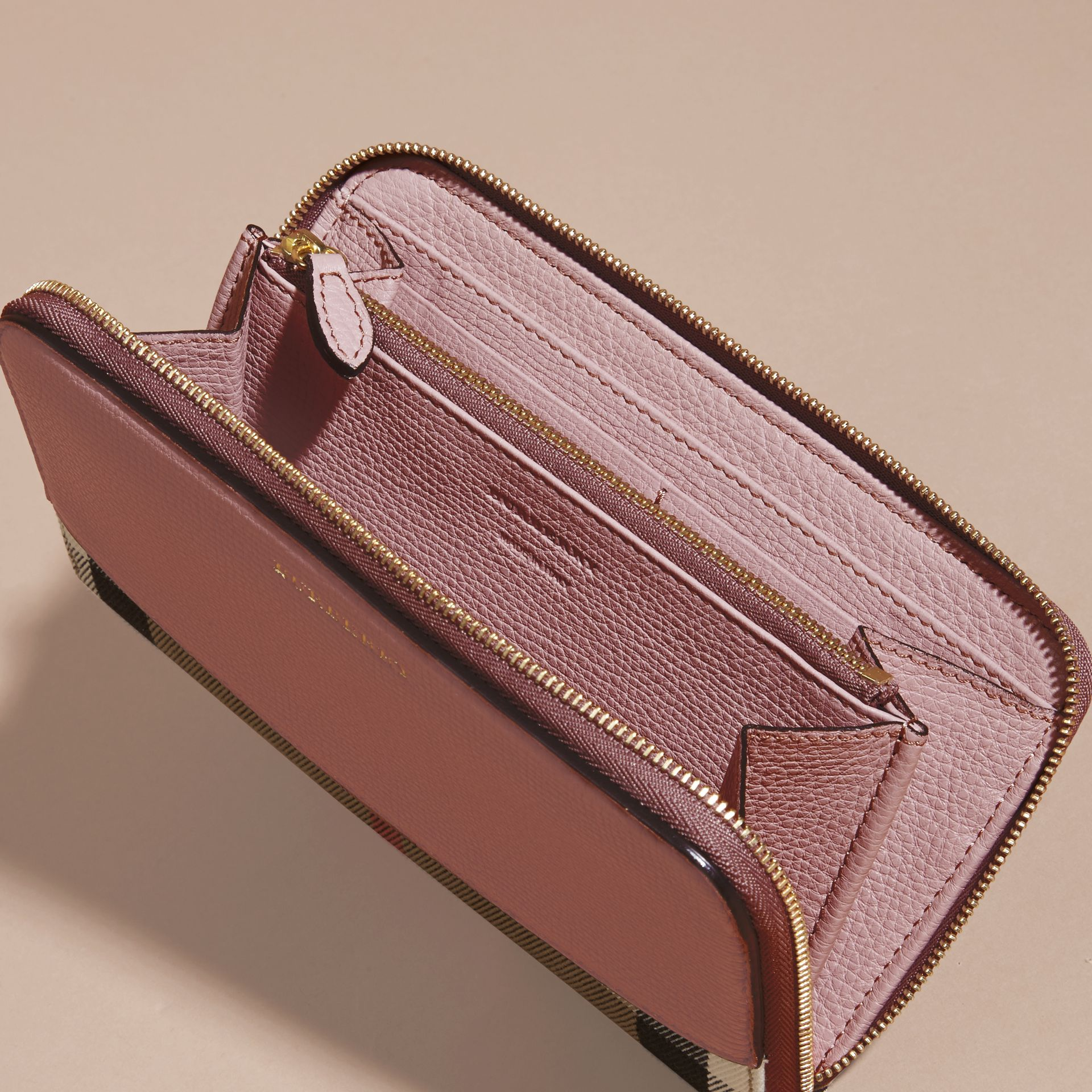 House Check and Leather Ziparound Wallet Pale Orchid - gallery image 5