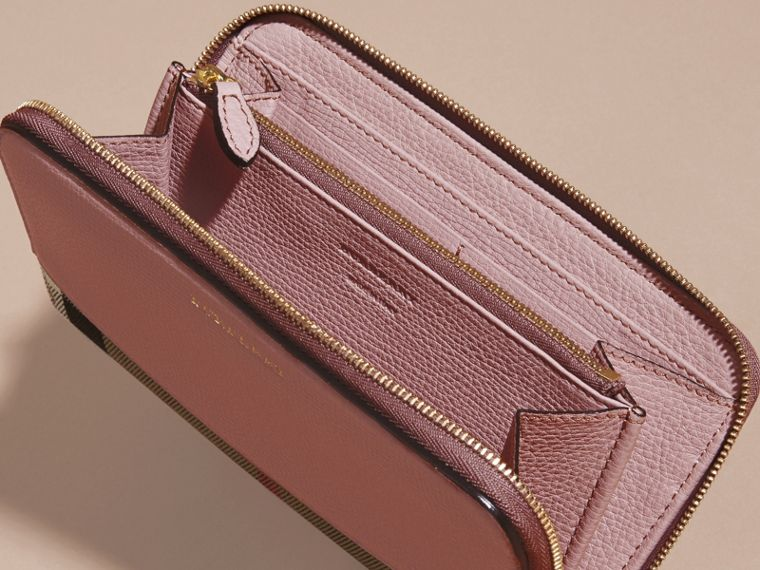 House Check and Leather Ziparound Wallet in Pale Orchid - Women | Burberry Singapore - cell image 4