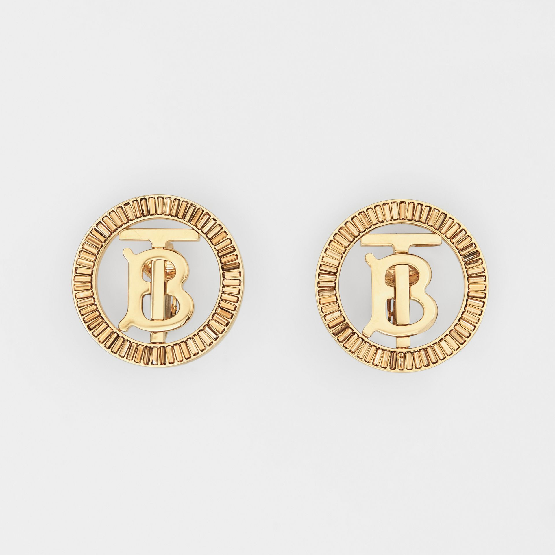 Crystal Detail Gold-plated Monogram Motif Earrings in Light Gold/crystal - Women | Burberry - gallery image 0