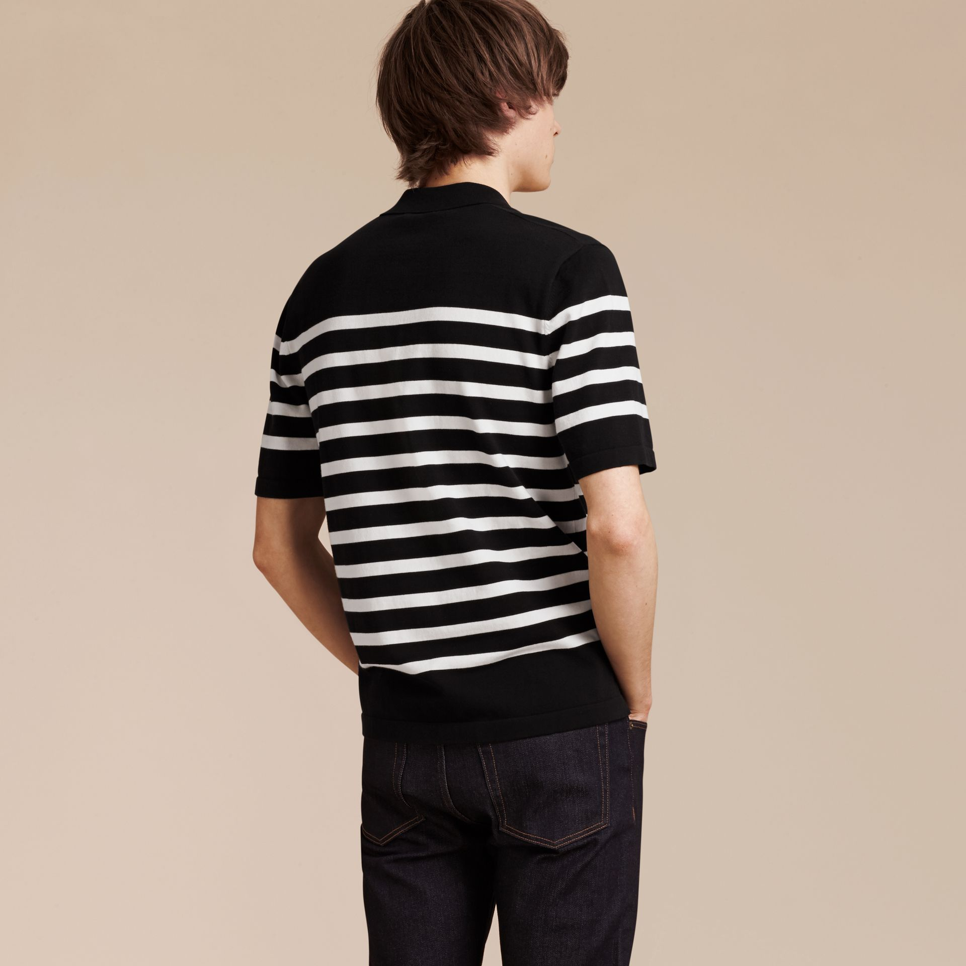 Black/white Striped Cotton Polo Shirt Black/white - gallery image 3