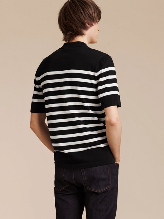 Black/white Striped Cotton Polo Shirt Black/white - cell image 2