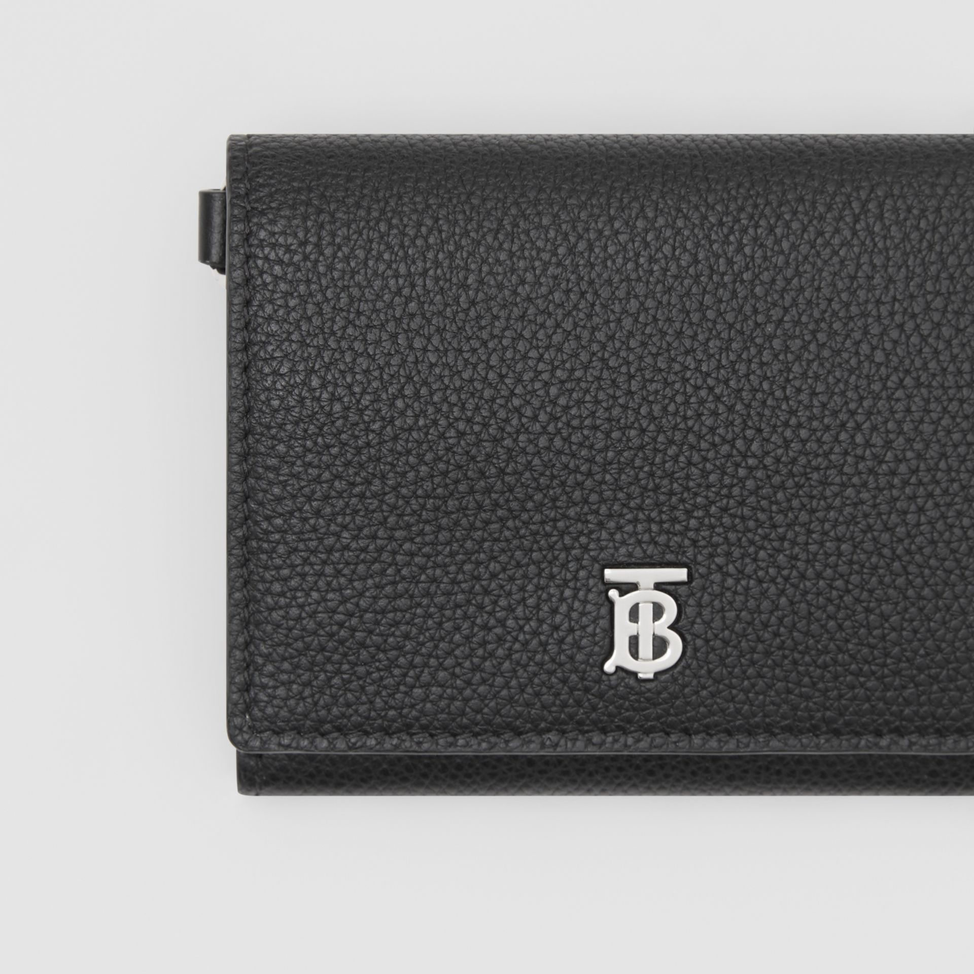 Small Grainy Leather Wallet with Detachable Strap in Black | Burberry United States - gallery image 1