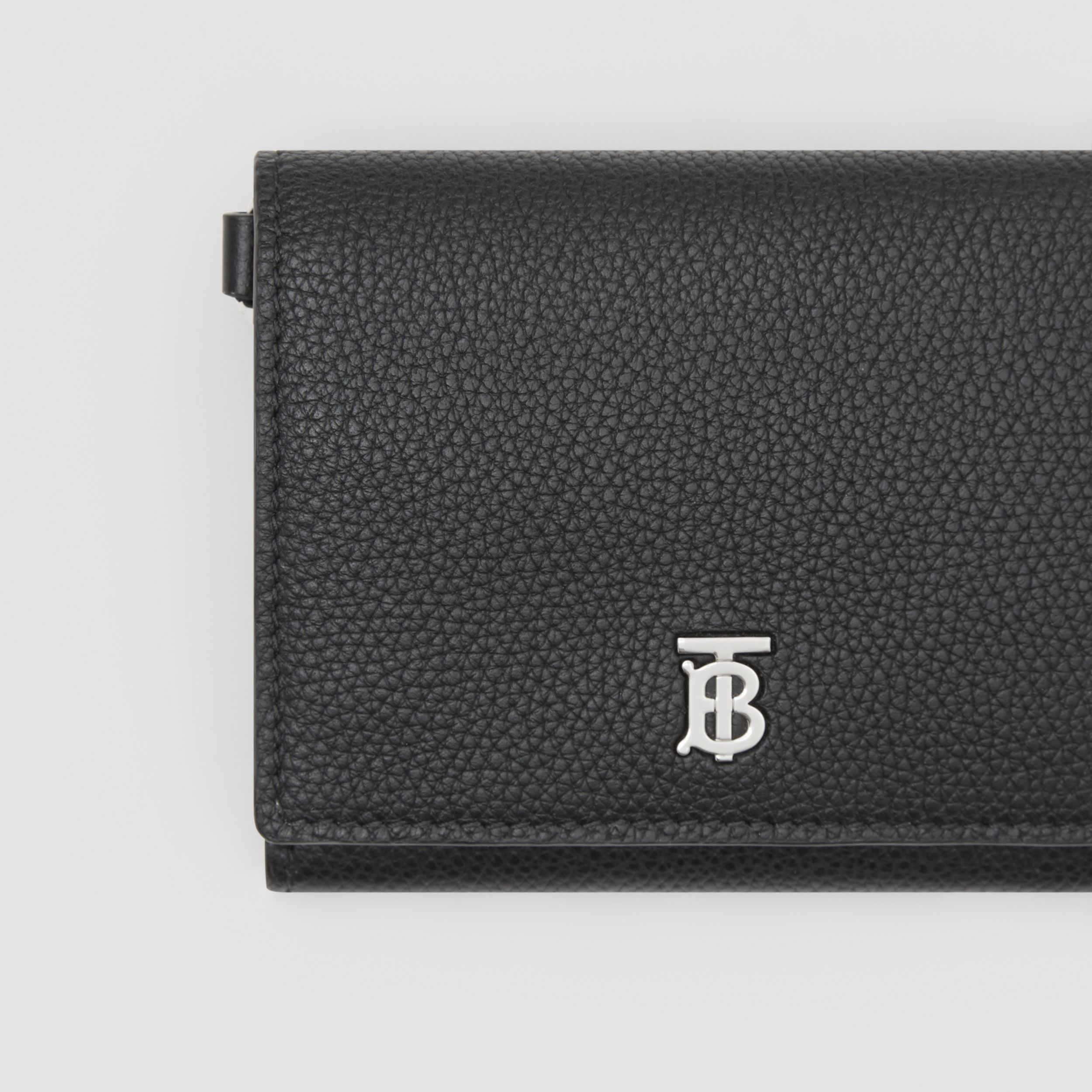 Small Grainy Leather Wallet with Detachable Strap in Black | Burberry - 2