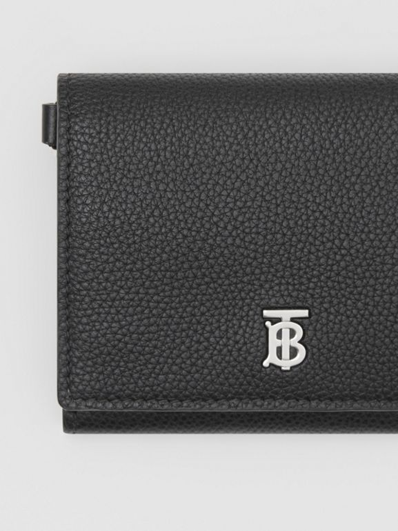 Small Grainy Leather Wallet with Detachable Strap in Black | Burberry United States - cell image 1