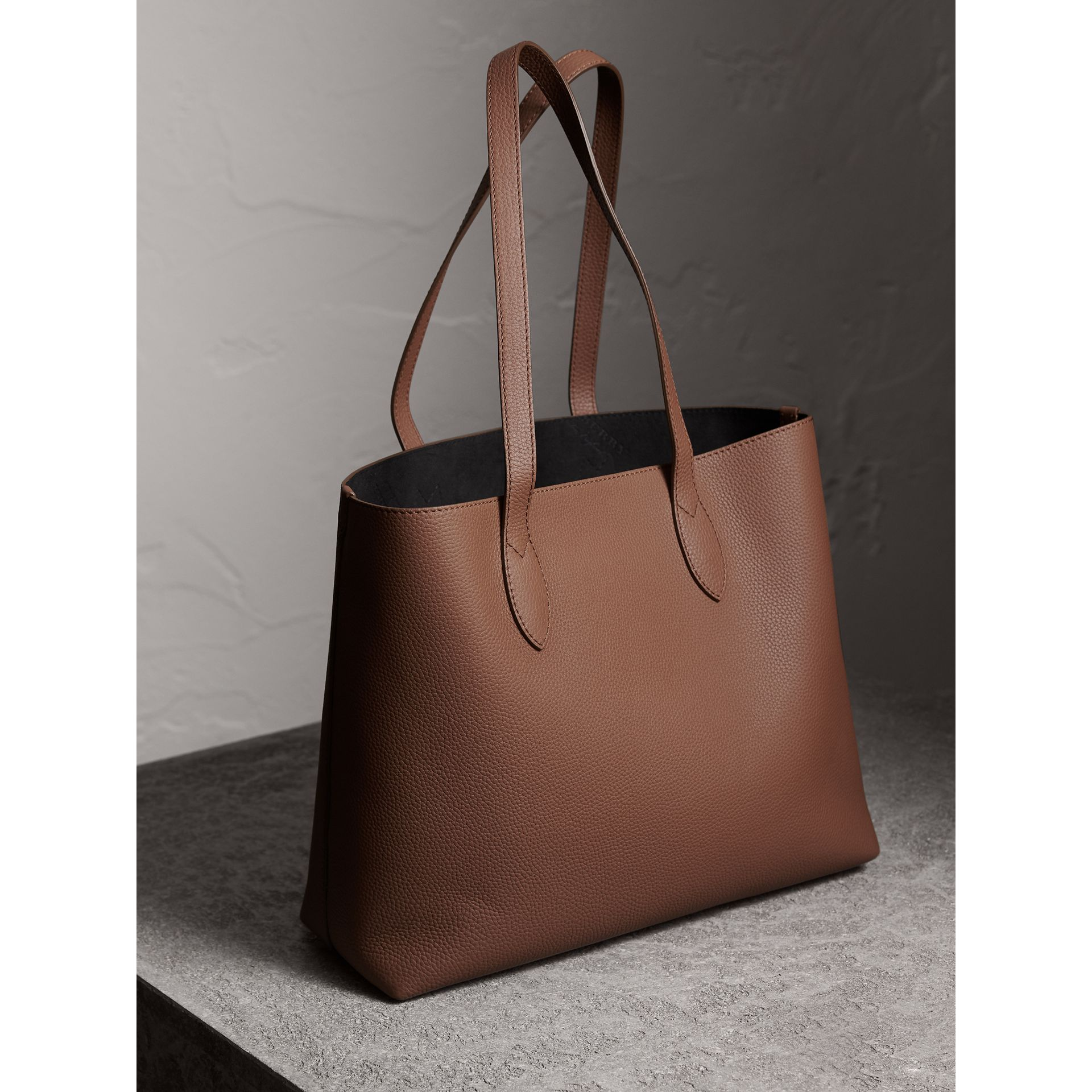Large Embossed Leather Tote in Chestnut Brown - Women | Burberry - gallery image 4