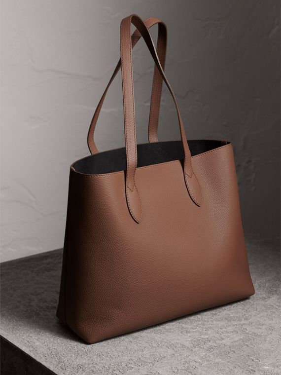 Large Embossed Leather Tote in Chestnut Brown - Women | Burberry - cell image 3