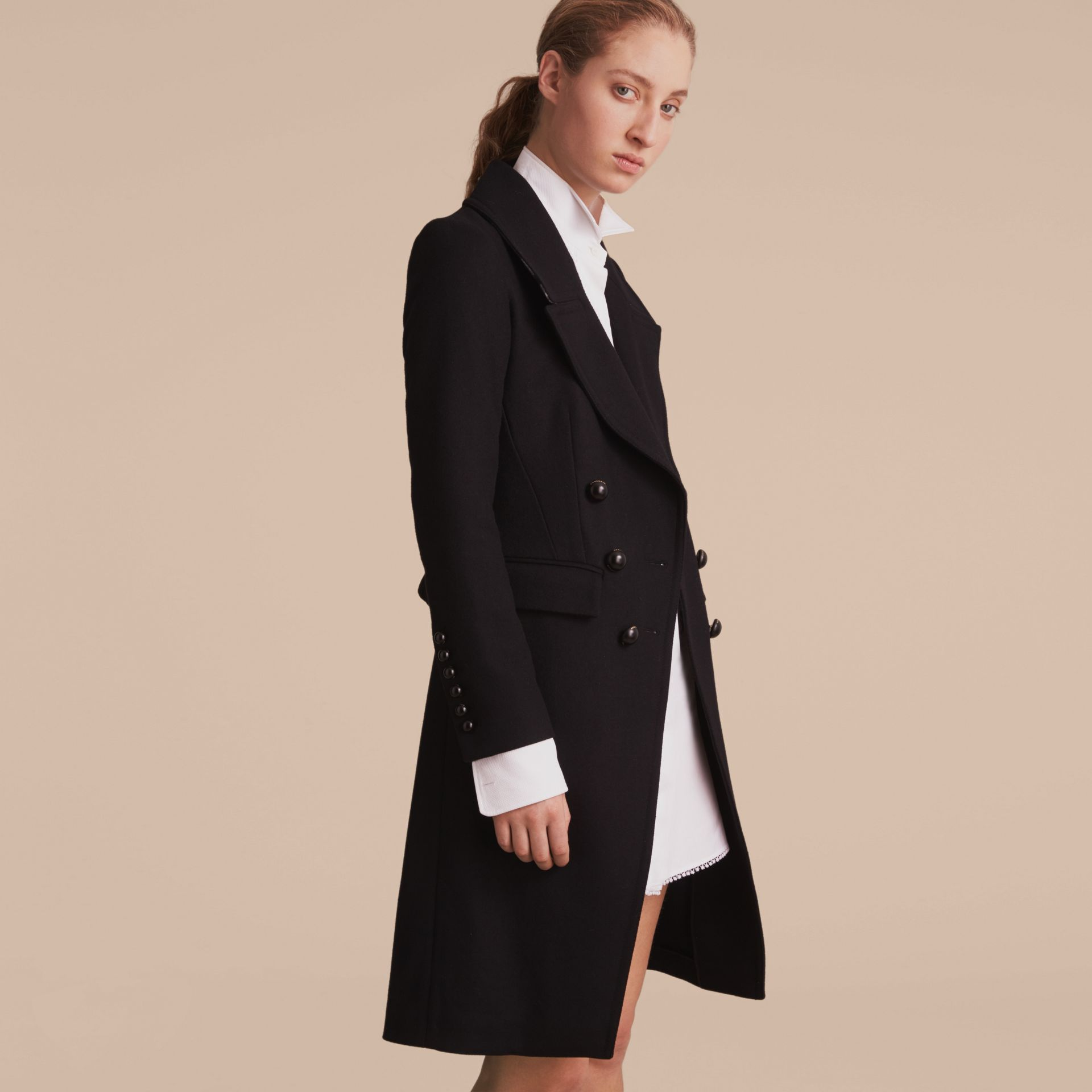 Wool Blend Double-breasted Coat in Black - Women | Burberry Canada - gallery image 7