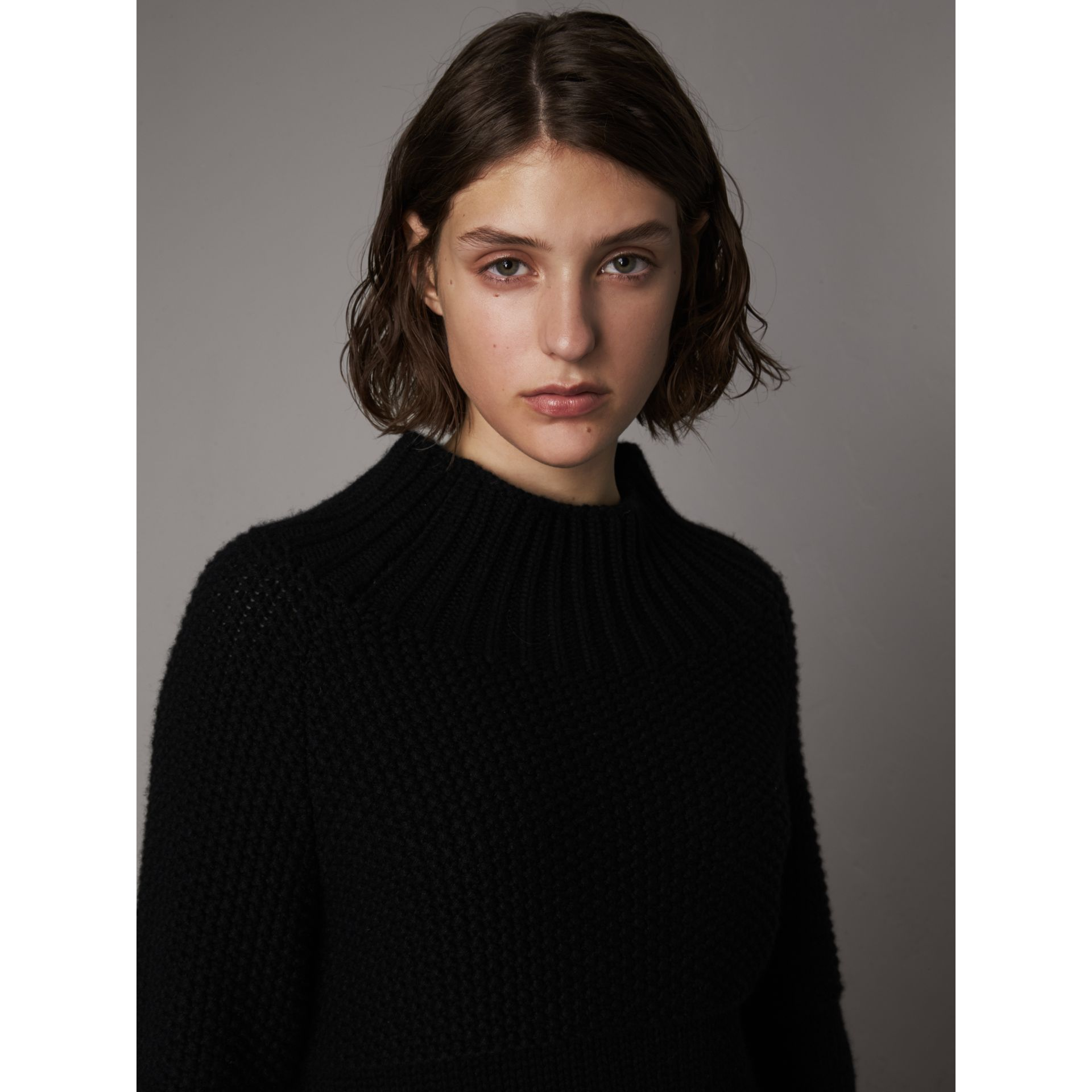 Cashmere Roll-neck Sweater in Black - Women | Burberry Singapore - gallery image 2