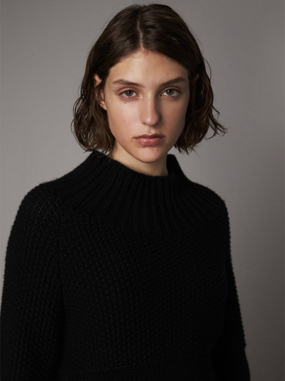 Cashmere Roll-neck Sweater in Black