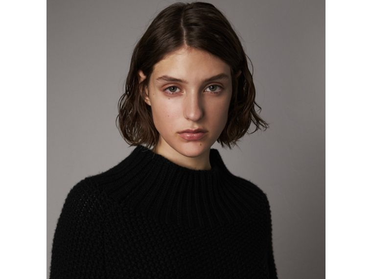 Cashmere Roll-neck Sweater in Black - Women | Burberry Hong Kong - cell image 1