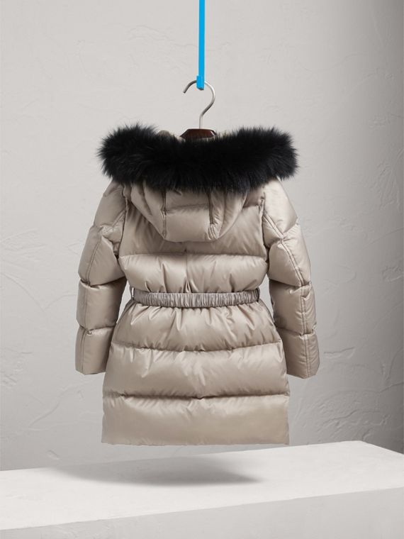 Down-filled Coat with Detachable Fox Fur-trimmed Hood in Mink - Girl | Burberry - cell image 3