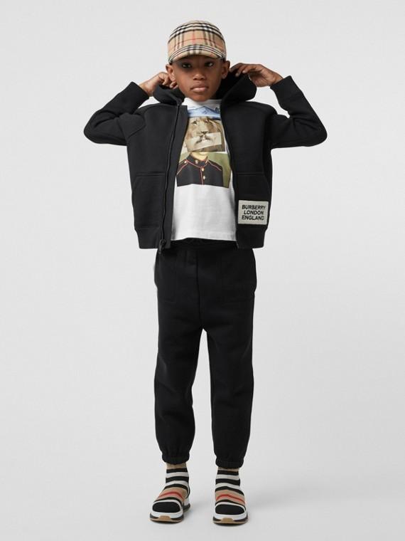Sweat-shirt à capuche en jersey avec logo (Noir)