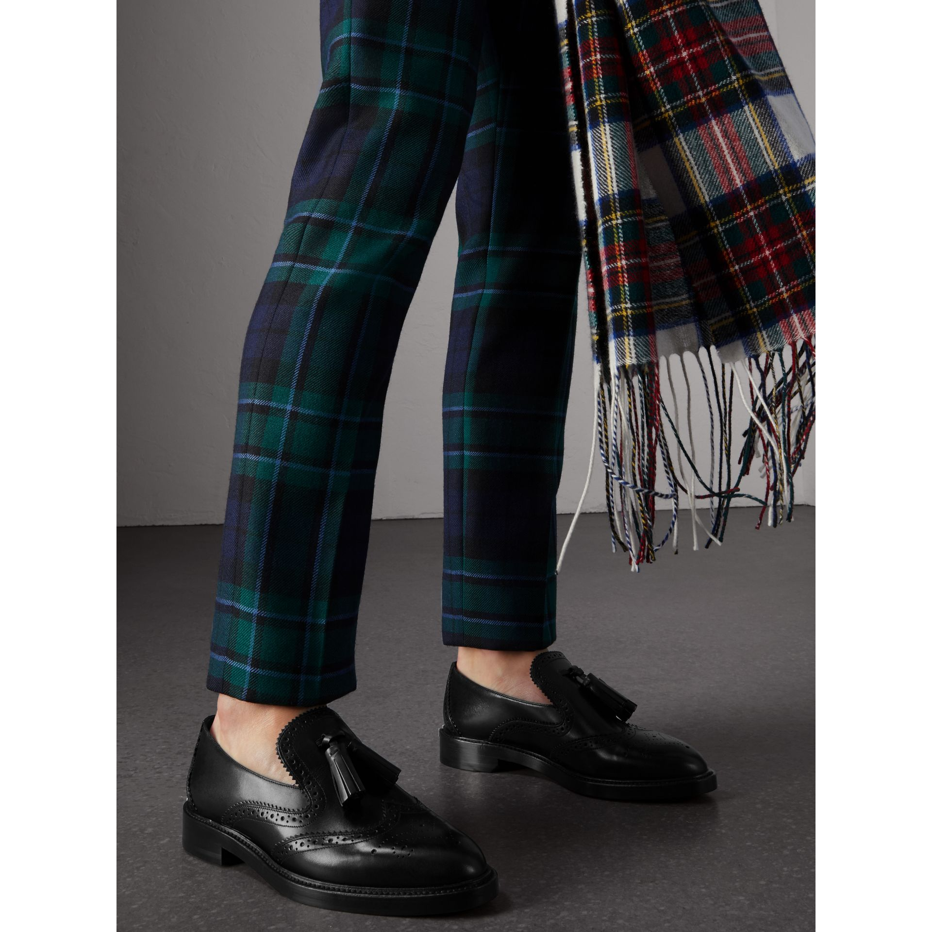 Leather Tassel Loafers in Black - Women | Burberry United States - gallery image 3