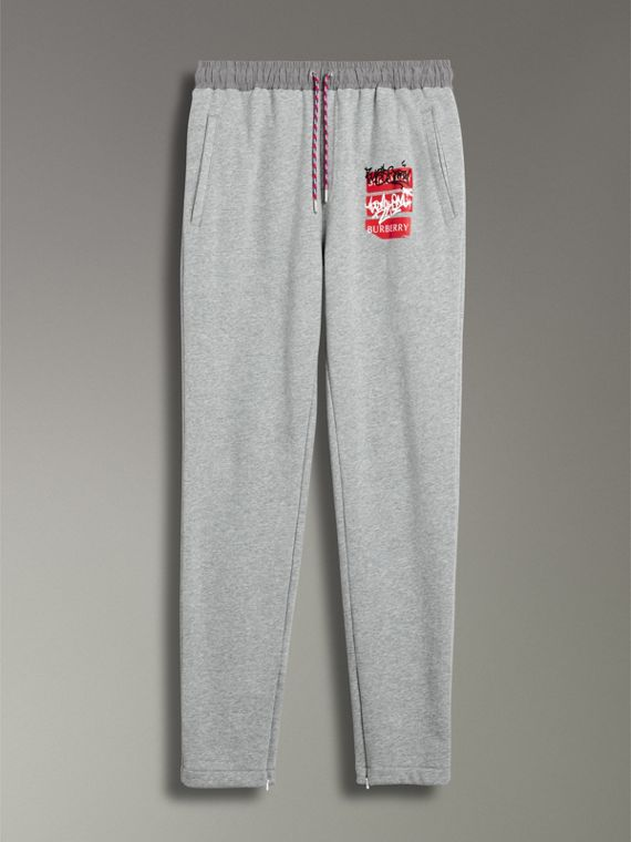 Graffitied Ticket Print Sweatpants in Pale Grey Melange - Men | Burberry - cell image 3