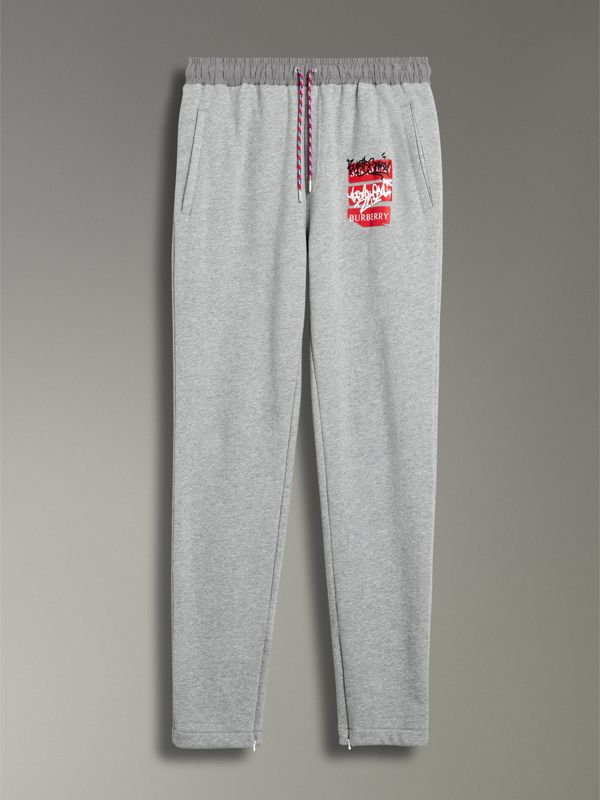 Graffitied Ticket Print Sweatpants in Pale Grey Melange - Men | Burberry United Kingdom - cell image 3