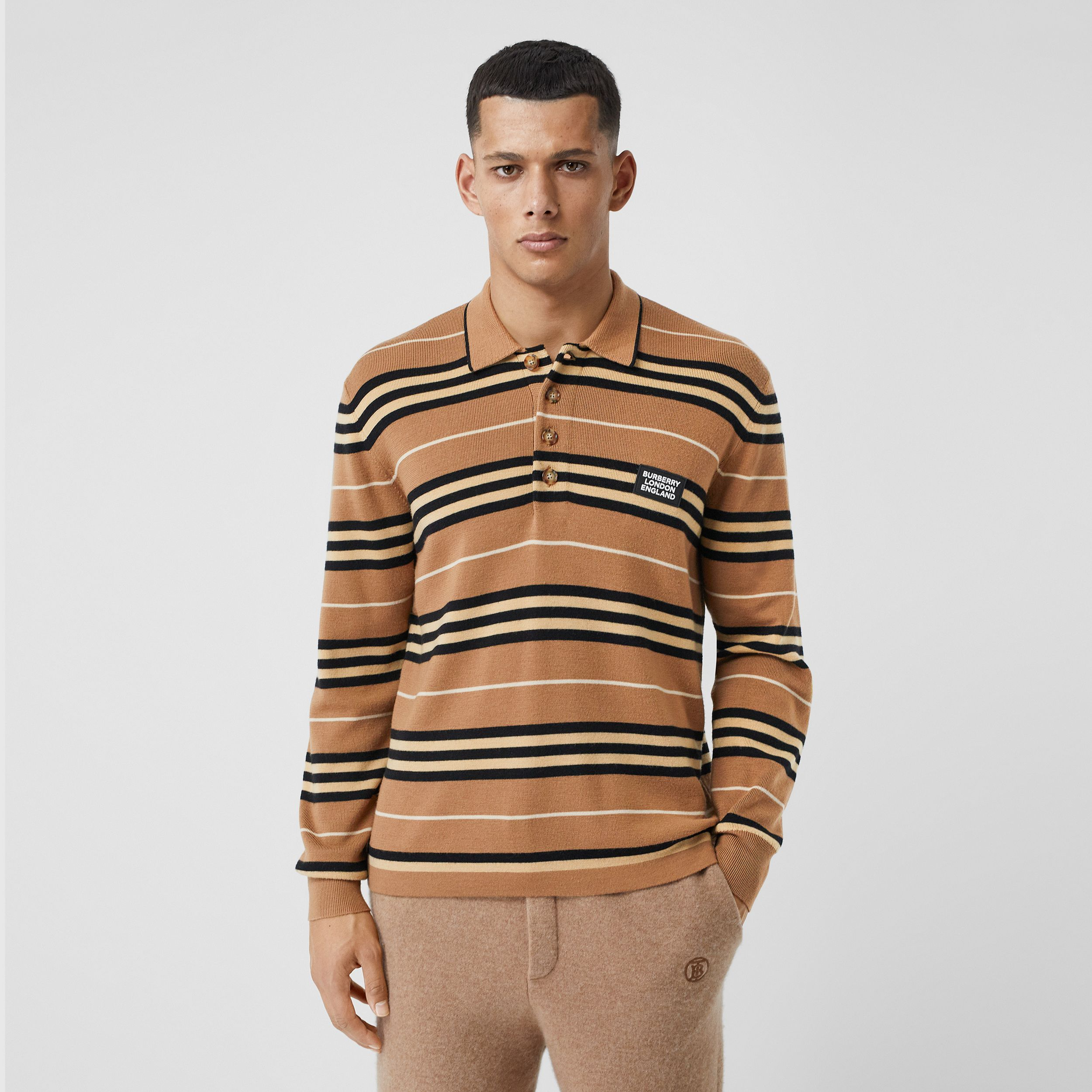 Long-sleeve Icon Stripe Merino Wool Polo Shirt in Warm Walnut - Men | Burberry United States - 1