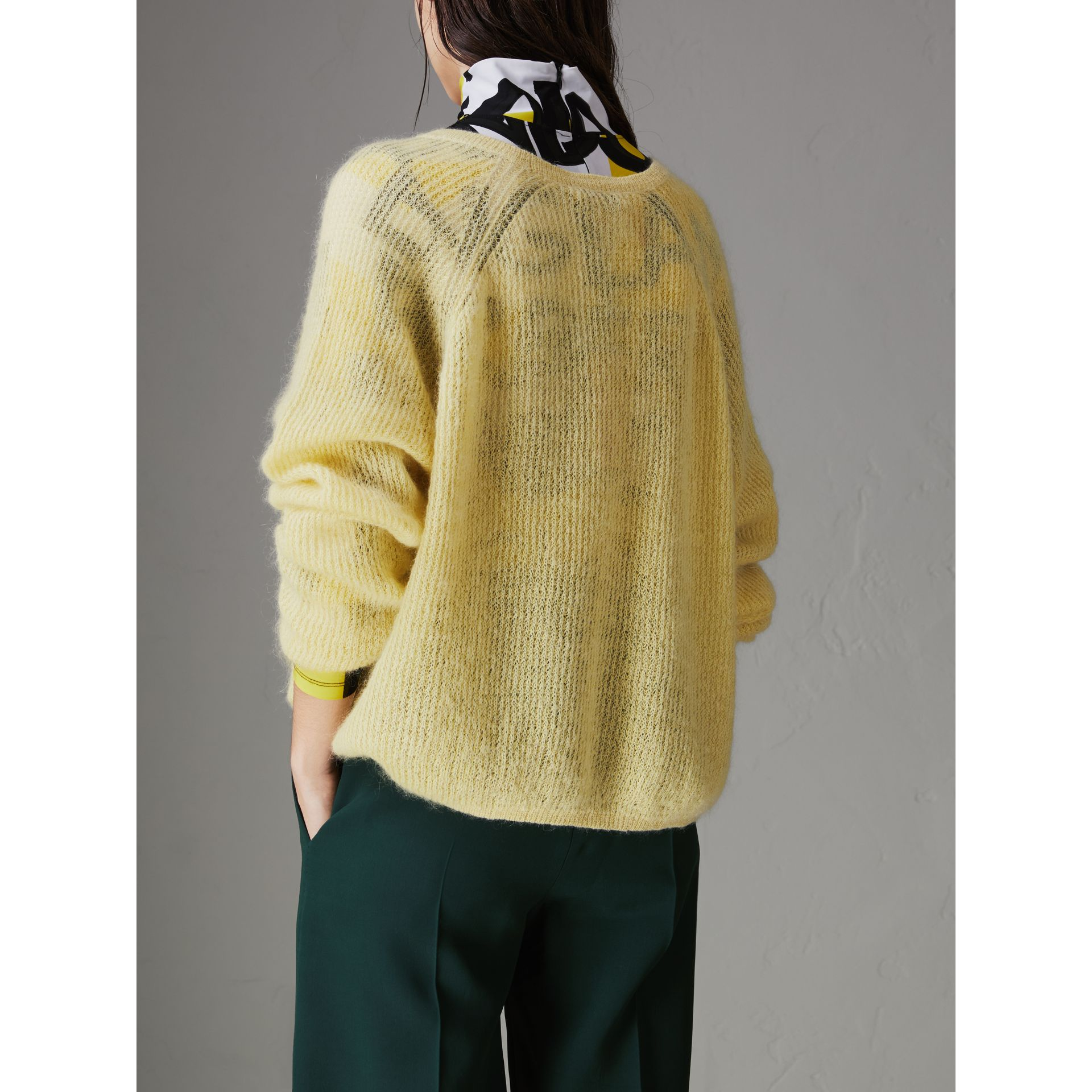 Mohair Silk Blend Sweater in Yellow Barley - Women | Burberry - gallery image 2