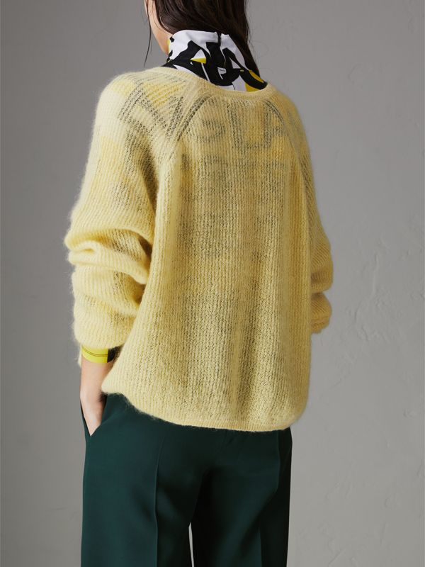 Mohair Silk Blend Sweater in Yellow Barley - Women | Burberry United Kingdom - cell image 2