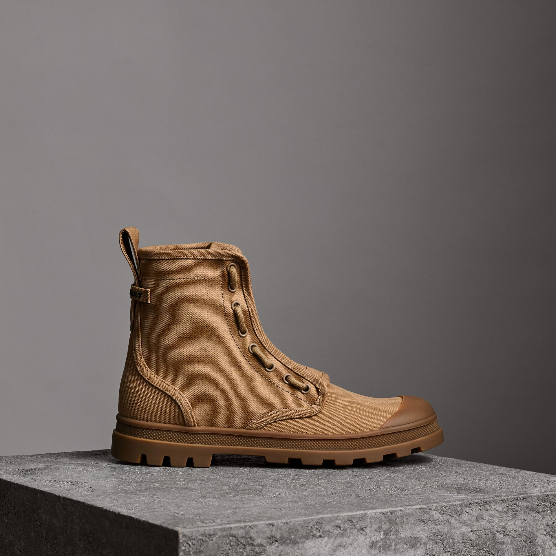Zipped Cotton Canvas Boots in Mid Camel - Men | Burberry United States - gallery image 0