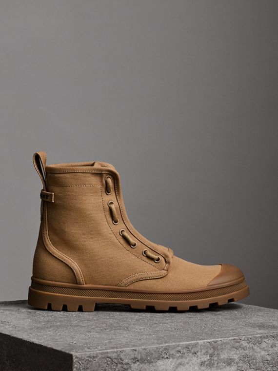 Zipped Cotton Canvas Boots in Mid Camel