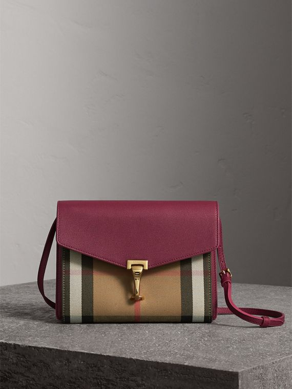 Small Leather and House Check Crossbody Bag in Berry Pink