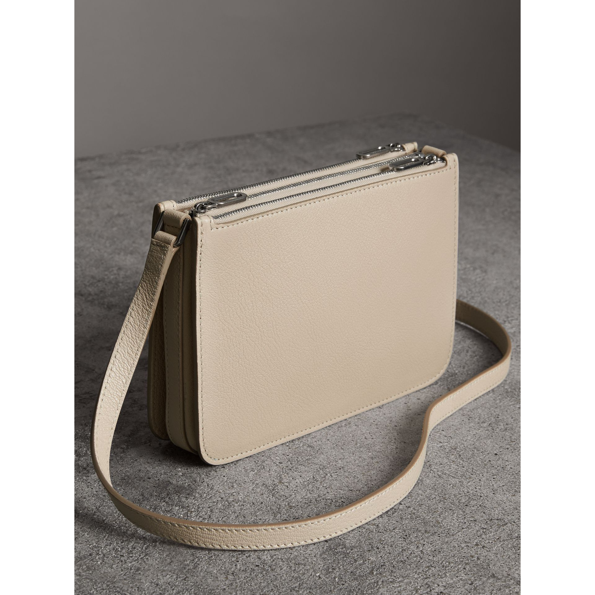 Triple Zip Grainy Leather Crossbody Bag in Stone - Women | Burberry United Kingdom - gallery image 4