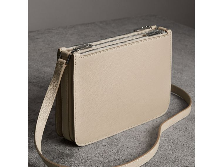 Triple Zip Grainy Leather Crossbody Bag in Stone - Women | Burberry - cell image 4
