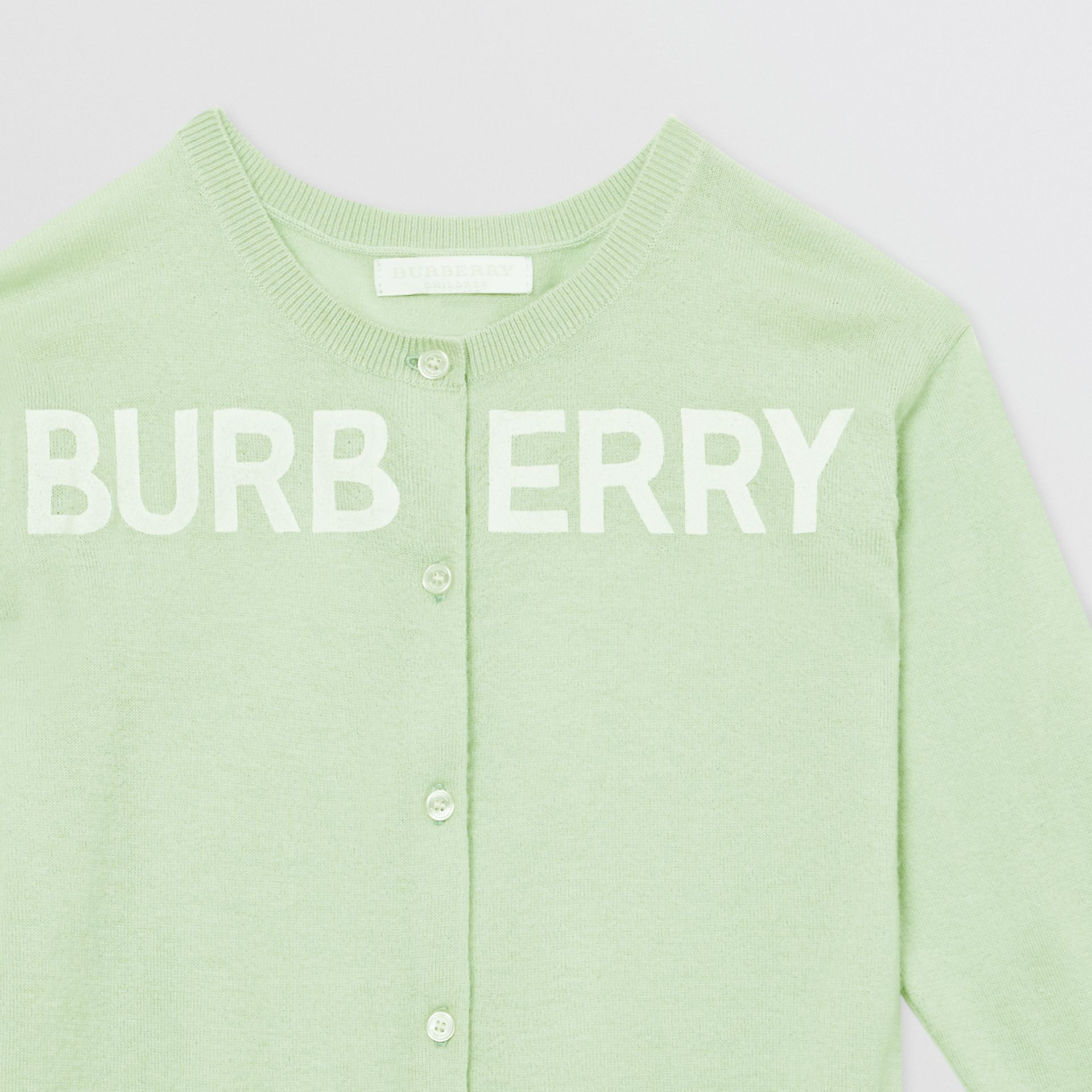 Logo Print Cashmere Two-piece Set in Pistachio | Burberry - gallery image 6