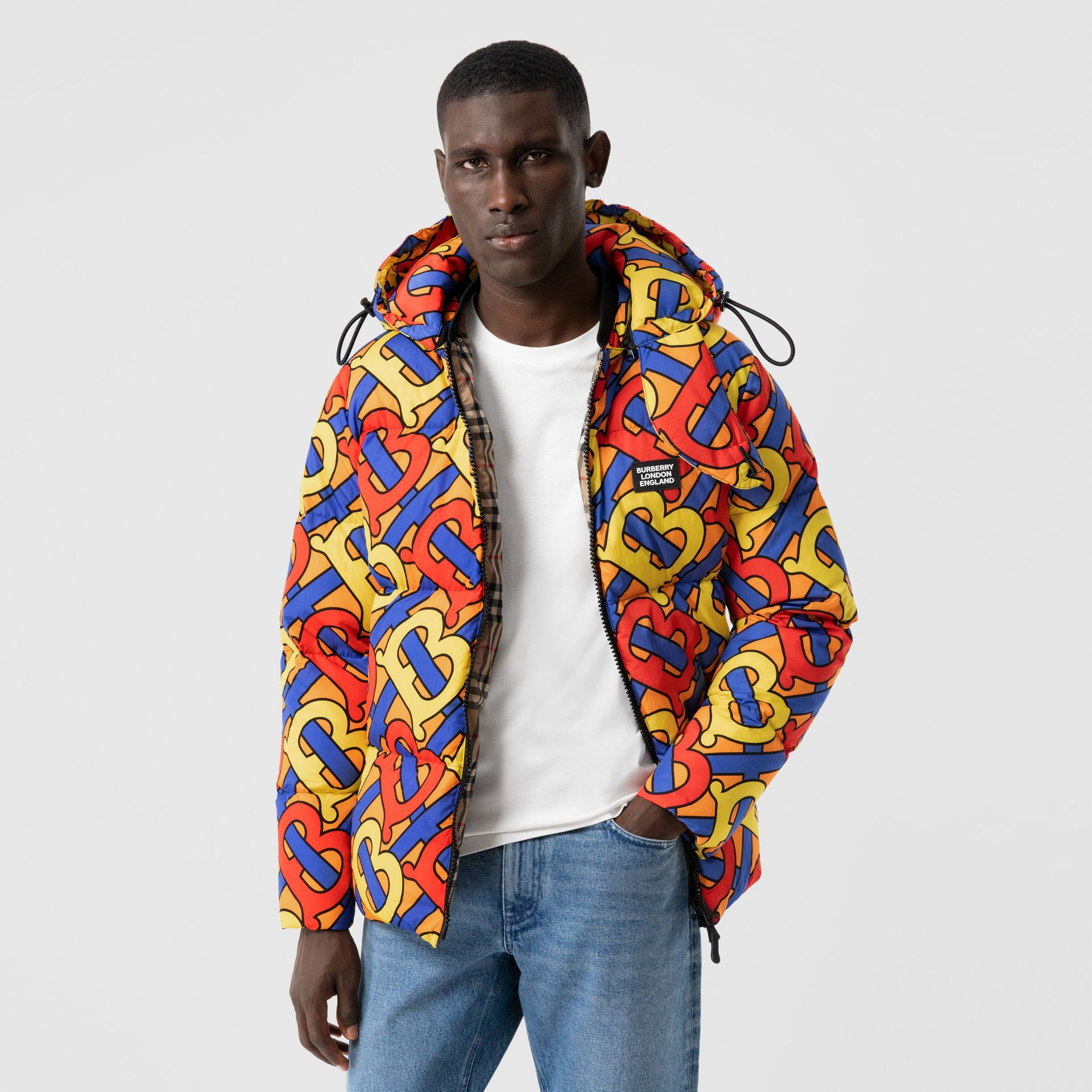 Monogram Print Puffer Jacket in Multicolour | Burberry - gallery image 5