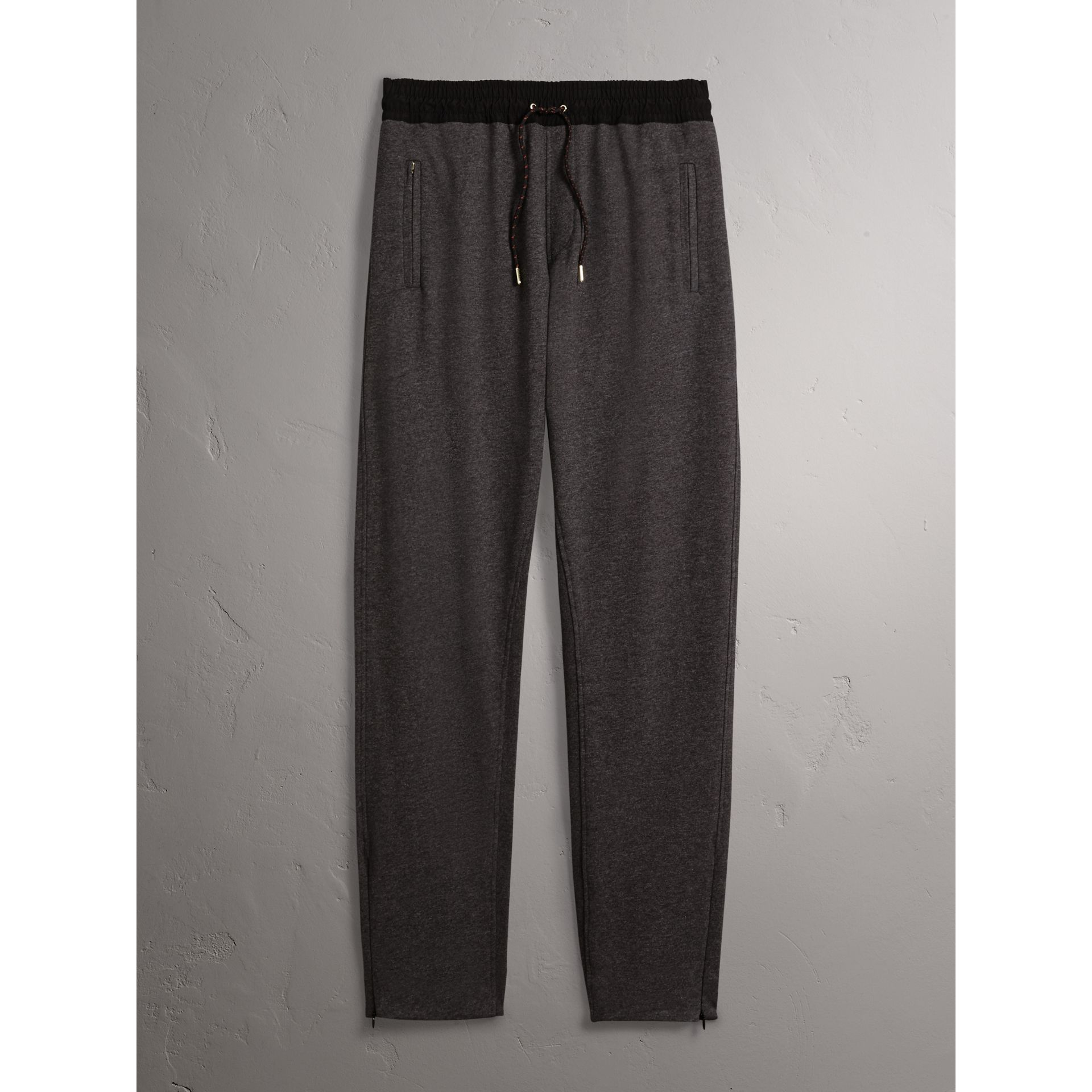 Cotton Sweatpants in Charcoal Melange - Men | Burberry - gallery image 3