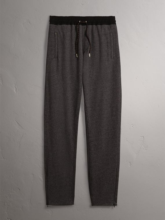 Cotton Sweatpants in Charcoal Melange - Men | Burberry - cell image 2