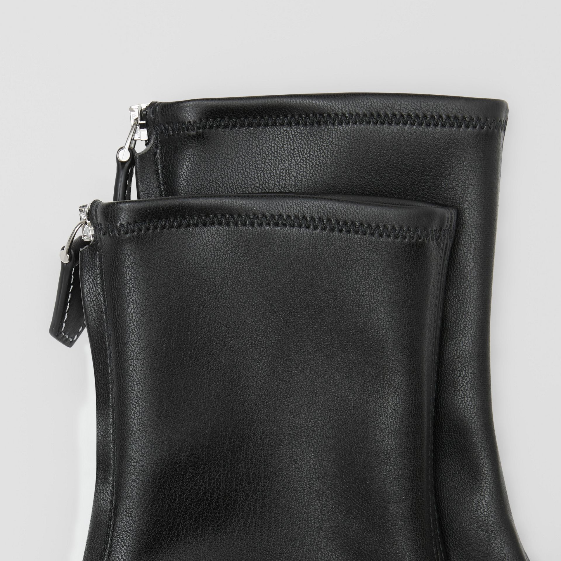 Faux Leather Ankle Socks in Black - Women | Burberry - gallery image 1