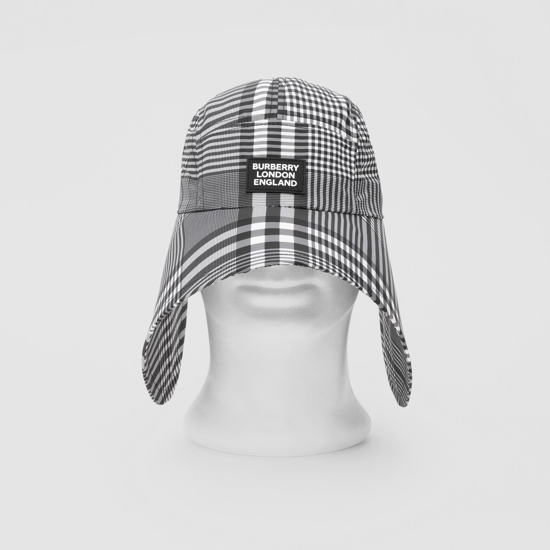 Logo Appliqué Check Bonnet Cap in Black/white | Burberry United Kingdom - gallery image 0