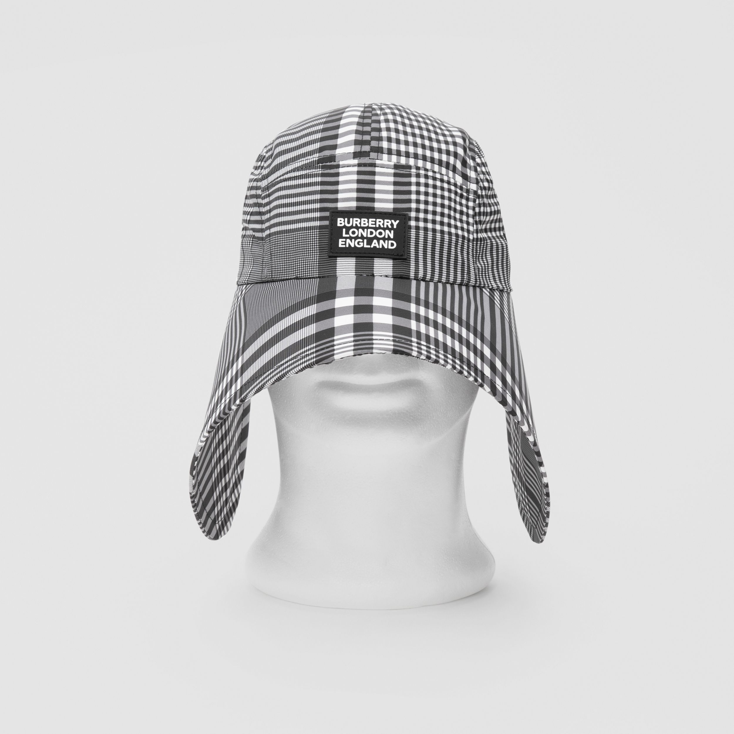 Logo Appliqué Check Bonnet Cap in Black/white | Burberry - 1