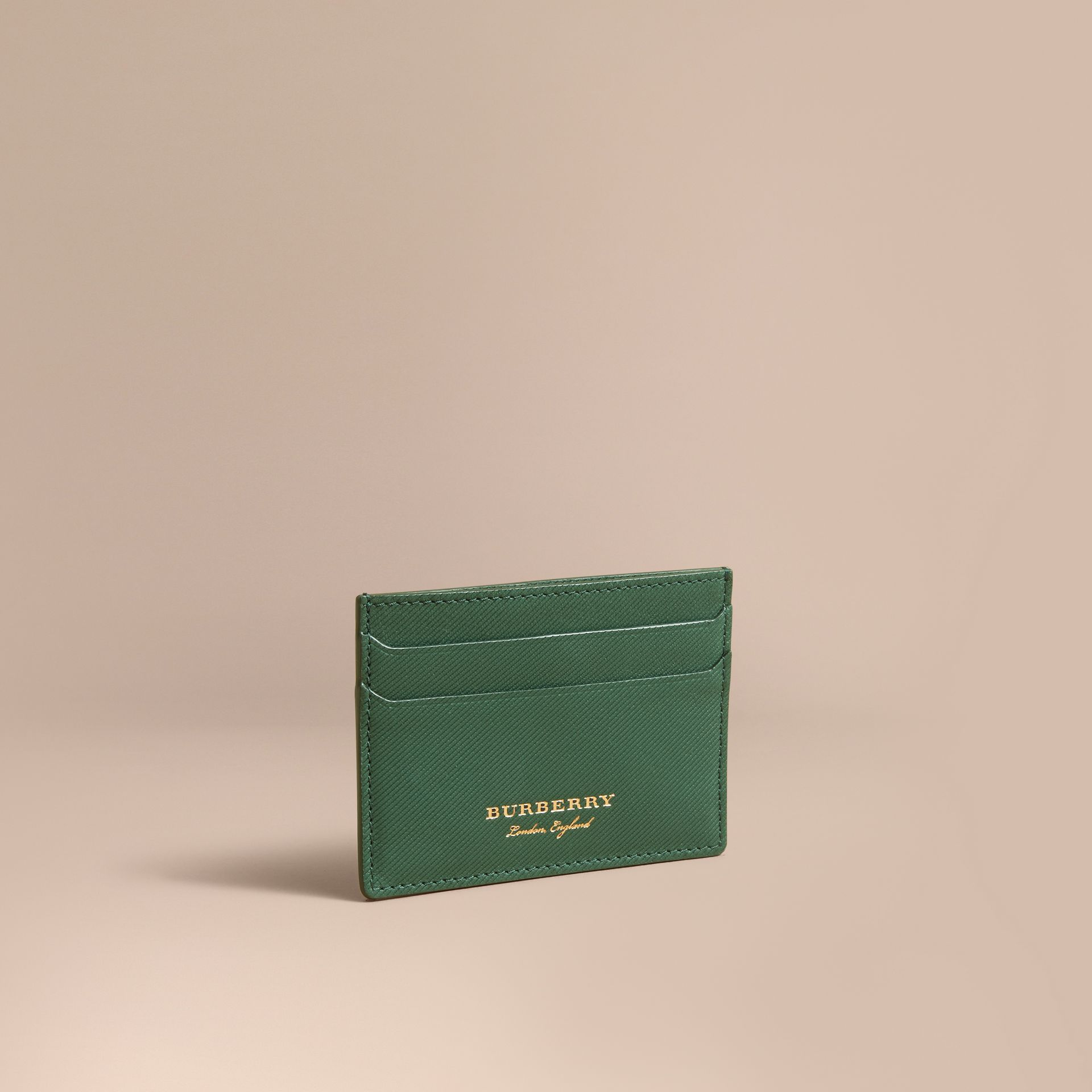 Trench Leather Card Case in Dark Forest Green | Burberry - gallery image 1