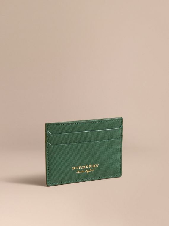 Trench Leather Card Case in Dark Forest Green