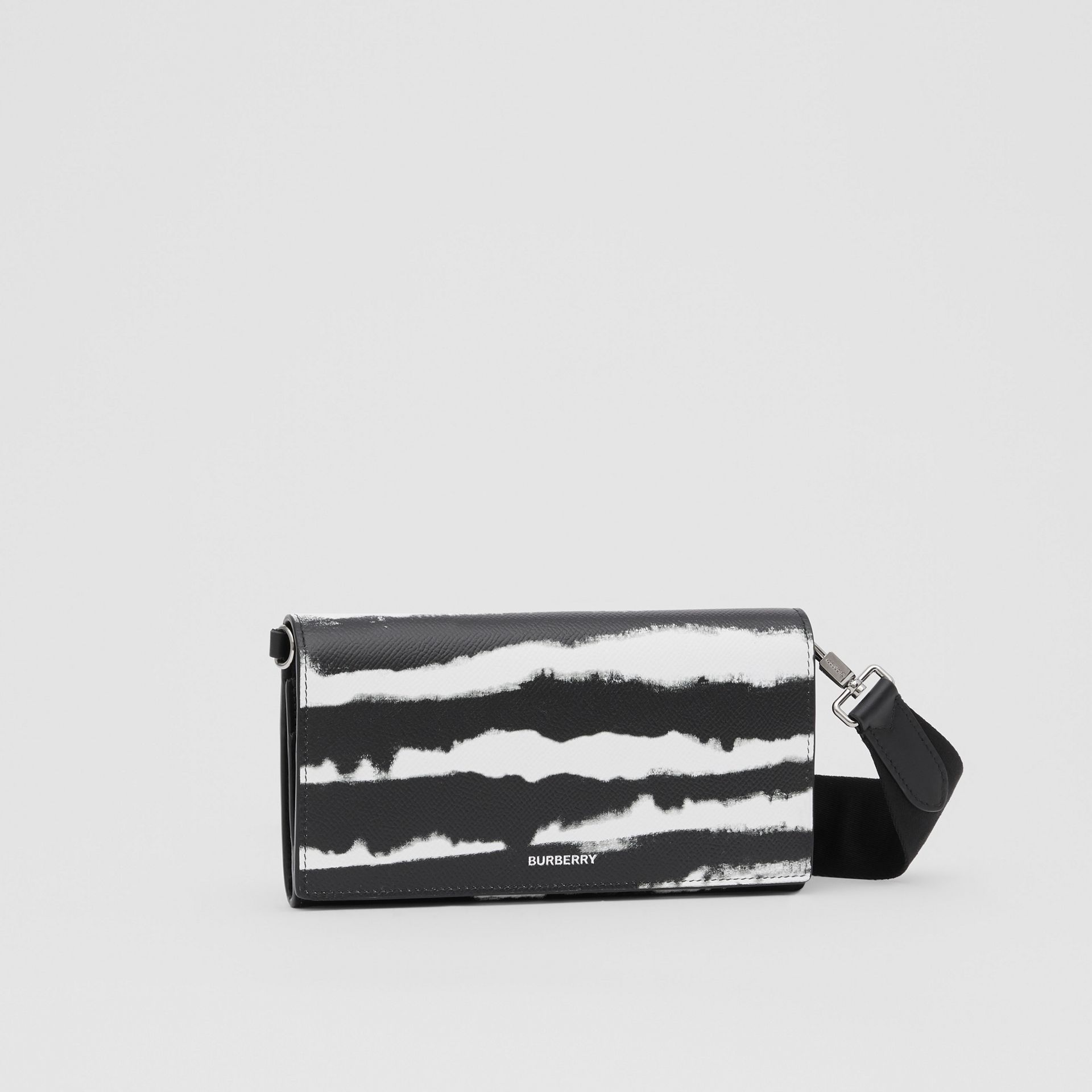 Watercolour Print Leather Wallet with Detachable Strap in Black/white | Burberry - gallery image 9