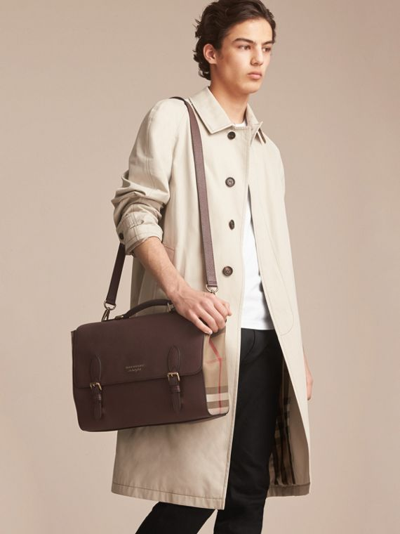 Leather and House Check Satchel in Oak Brown - Men | Burberry - cell image 2