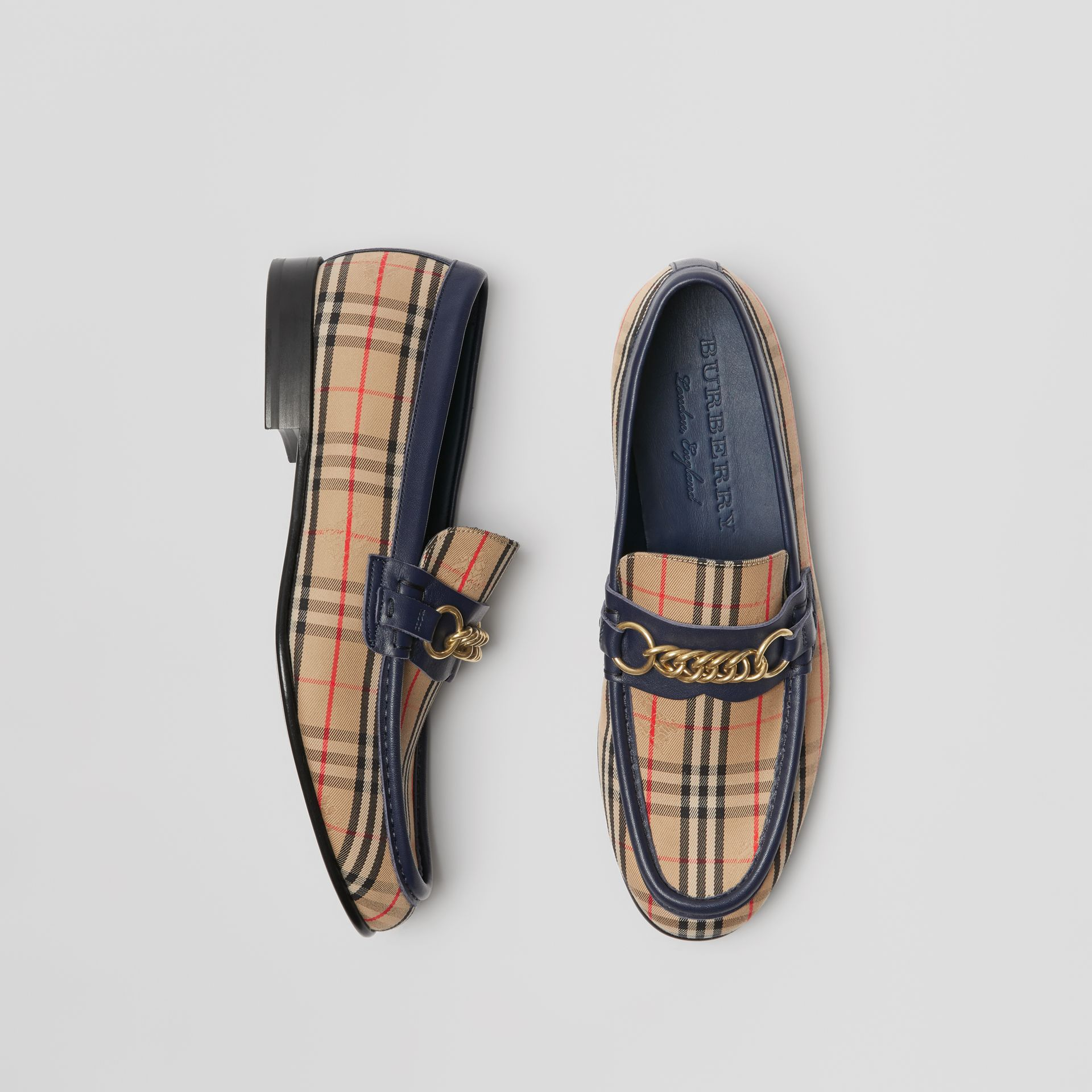 The 1983 Check Link Loafer in Ink Blue - Men | Burberry Singapore - gallery image 0