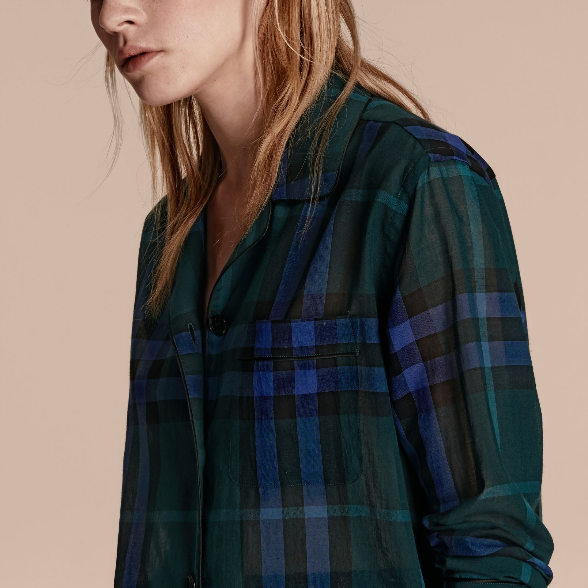 Check Cotton Pyjama-style Shirt in Dark Teal - gallery image 5