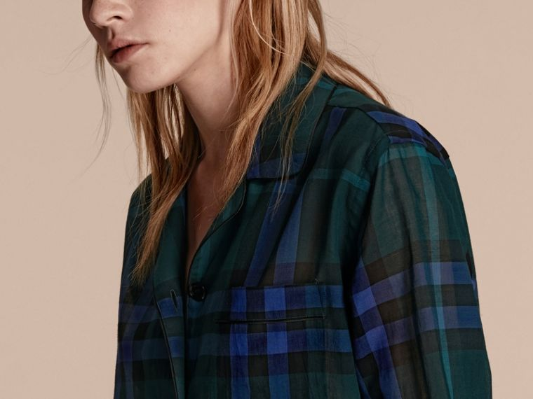 Dark teal Check Cotton Pyjama-style Shirt Dark Teal - cell image 4
