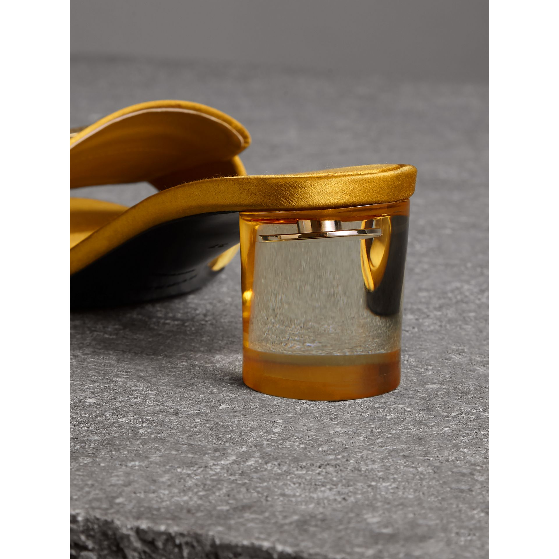 Link Detail Satin Heeled Slides in Antique Yellow - Women | Burberry United Kingdom - gallery image 3