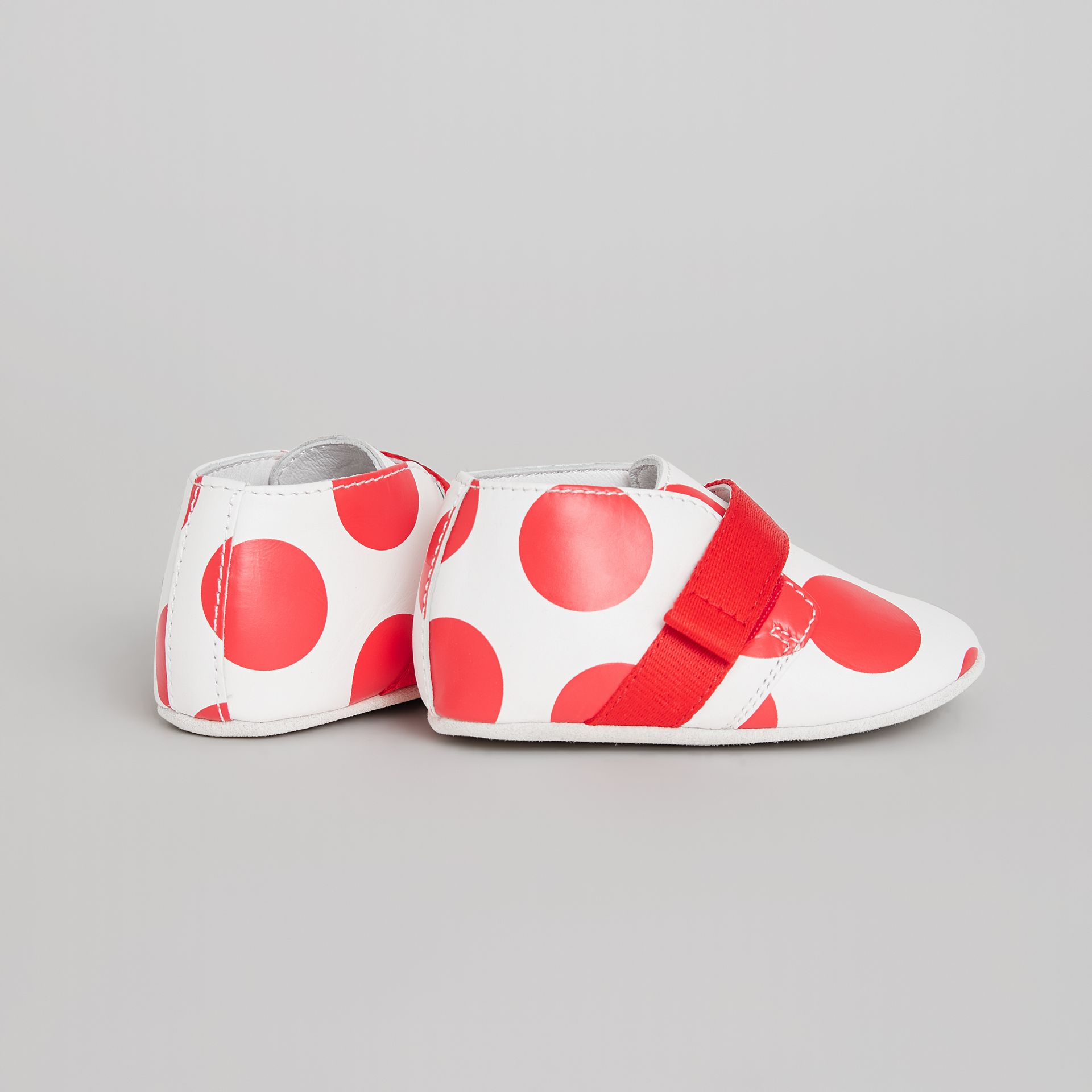 Spot Print Leather Shoes in Bright Red - Children | Burberry Australia - gallery image 2