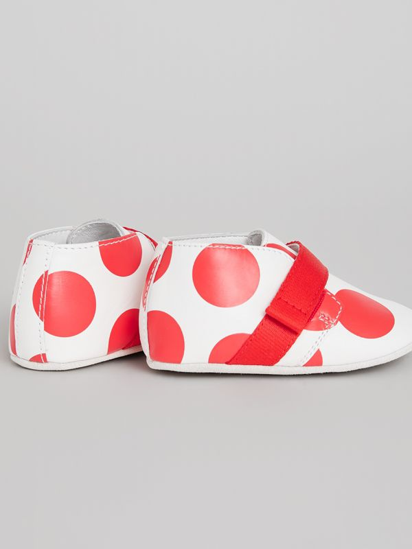 Spot Print Leather Shoes in Bright Red - Children | Burberry Australia - cell image 2