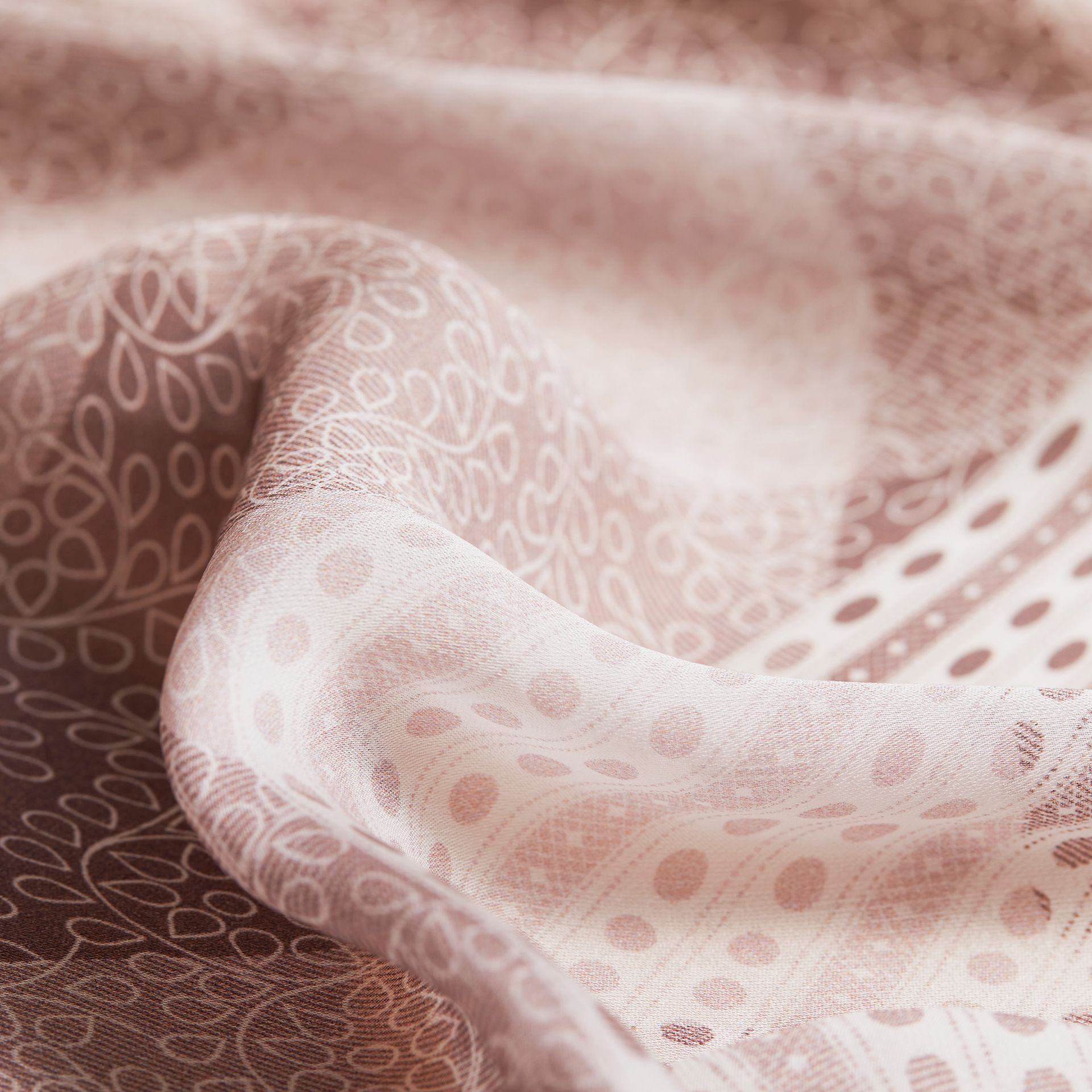 Floral Lace and Check Print Silk Scarf in Ash Rose - Women | Burberry Singapore - gallery image 2