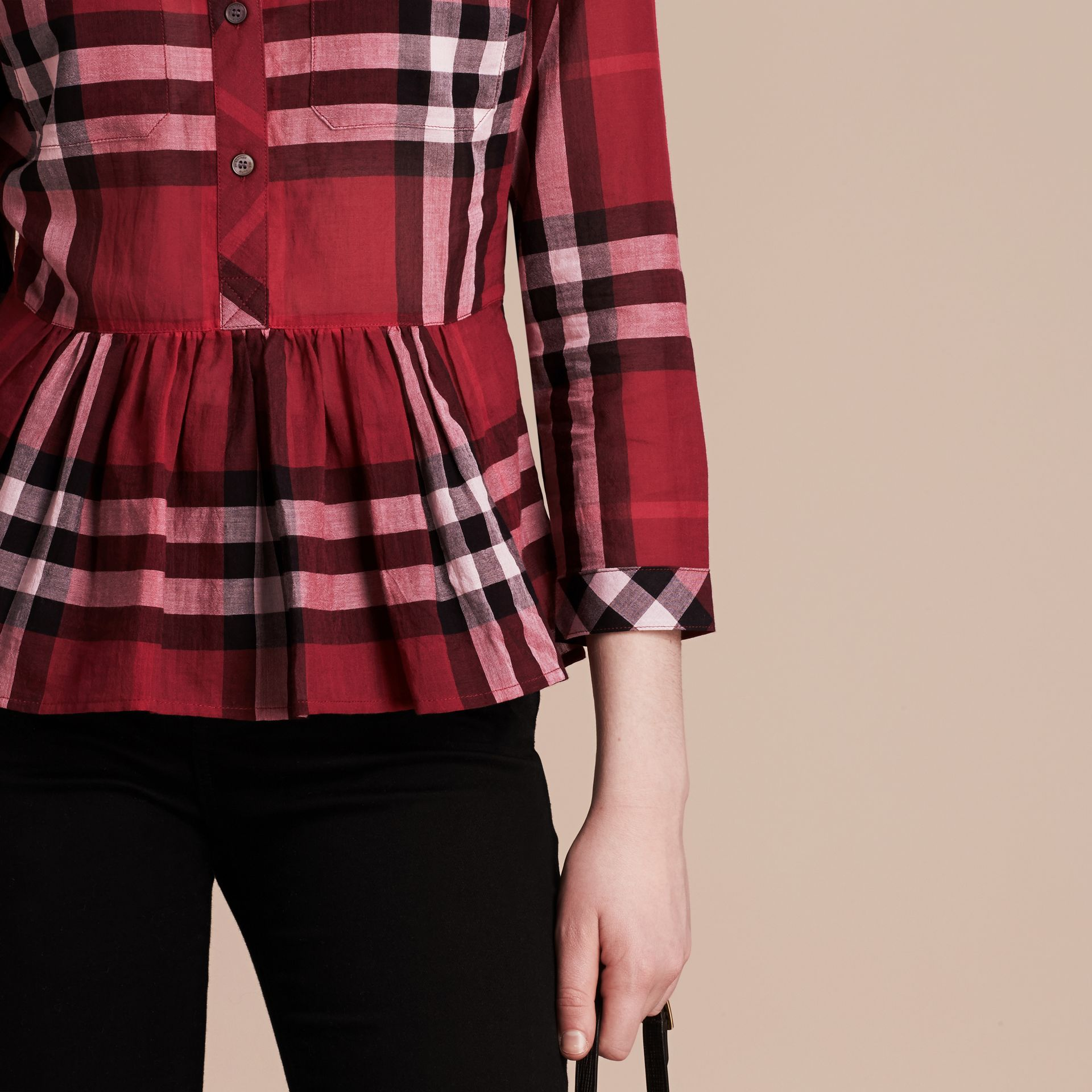 Poppy red Check Cotton Peplum Shirt Poppy Red - gallery image 5